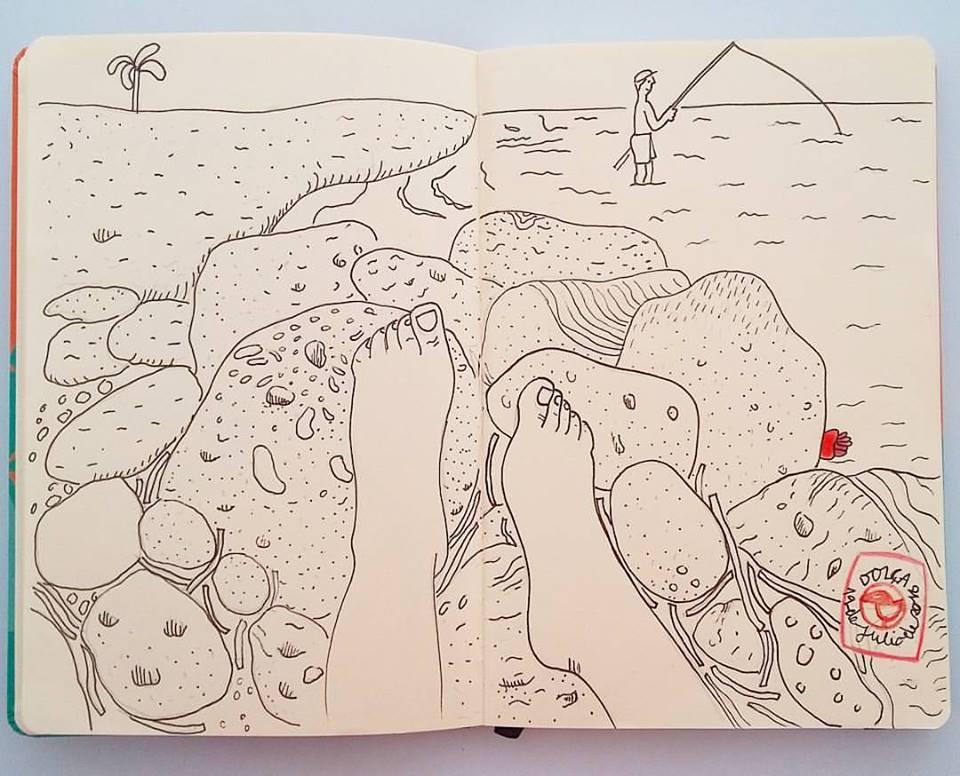 Dibujo a la orilla del mar